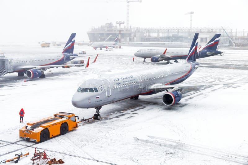 Aeroflot Rosyjskie linie lotnicze Aerobus A321 fotografia royalty free