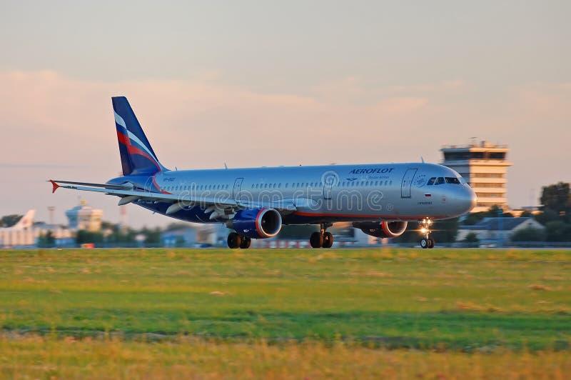 Aeroflot - Russische Luchtvaartlijnenluchtbus A321 royalty-vrije stock afbeeldingen