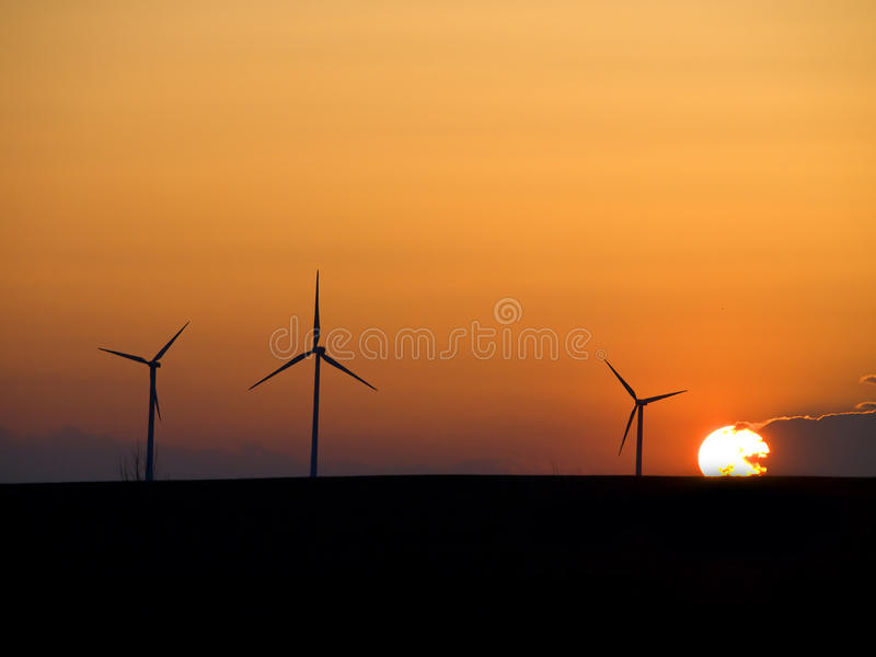 Aerogenerators in the sunset royalty free stock photography