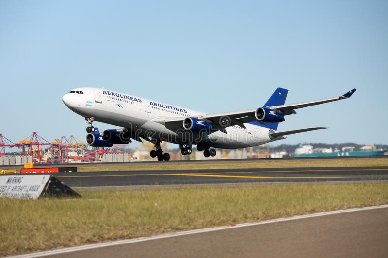 Aerolineas Argentinas Airbus A340 taking off. royalty free stock image