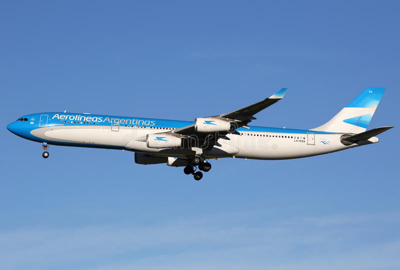 Aerolineas Argentinas Airbus A340-300 airplane royalty free stock photography