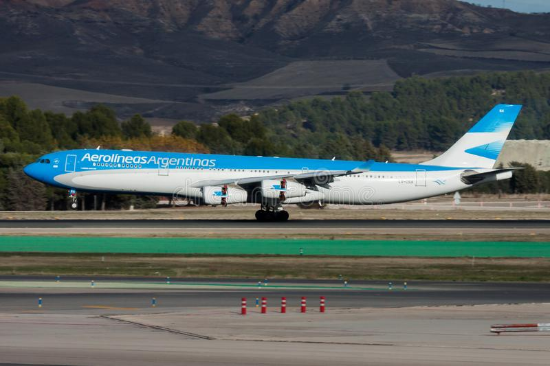 Aerolineas Argentinas Airbus A340-300 LV-CSX passenger plane landing at Madrid Barajas Airport stock photo