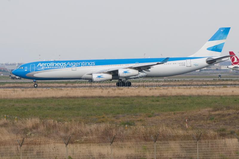 An Aerolineas Argentinas Airbus A-340 in preparation for take-off at the Fiumicino airport in Rome stock image