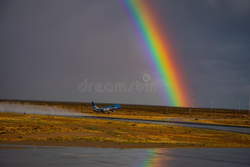 Aerolineas Argentinas taking off from Trelew Airport stock photography