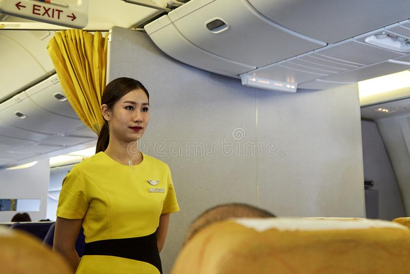 A aeromoça de ar demonstra procedimentos de segurança imagem de stock royalty free