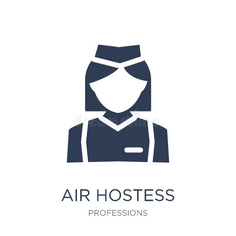 Aeromoça de ar Icon Ícone liso na moda da aeromoça de ar do vetor em b branco ilustração royalty free