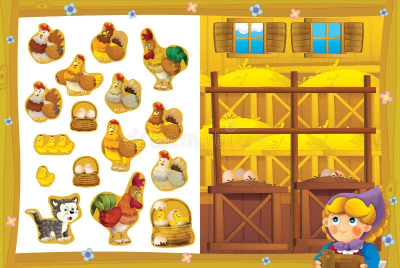 A aeromoça na capoeira de galinha feliz para as etiquetas de sorriso dos ovos - página do exercício - - educacionais ilustração do vetor