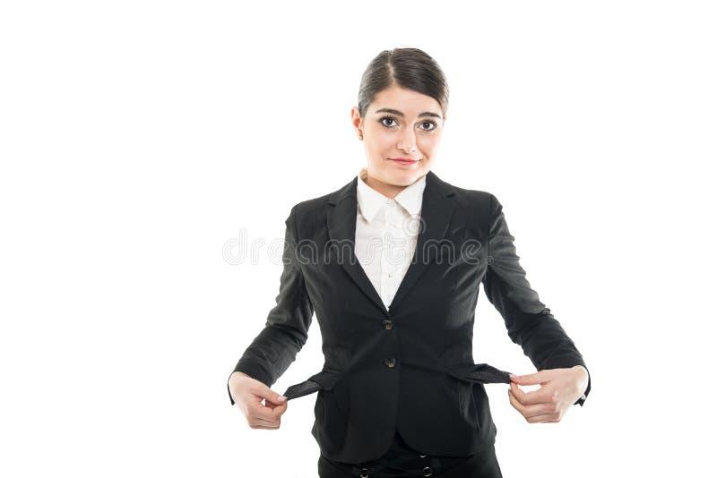 Aeromoço fêmea bonito que tem bolsos vazios foto de stock