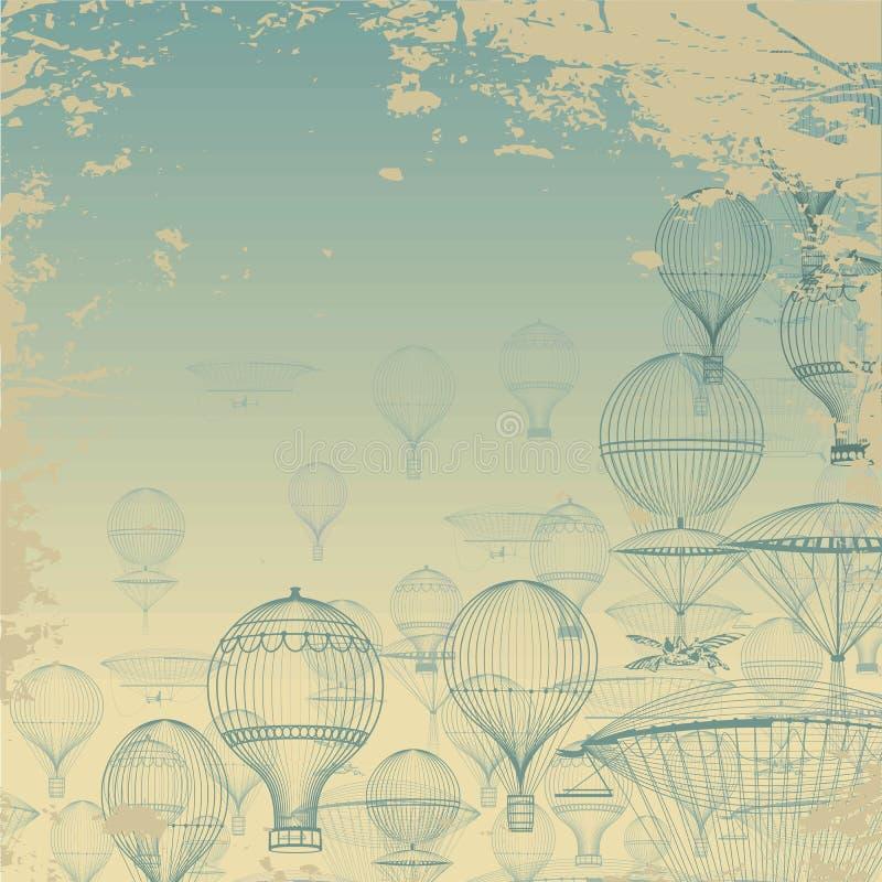 Aeronáutica del VUELO El aire caliente del vintage hincha la flotación en el cielo Fondo del Grunge Monocromo en sombras del azul libre illustration