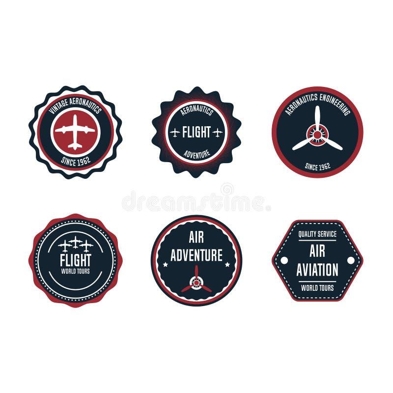 Aeronautic badge vector design set element. Flight emblem retro vintage symbol label. Airplane adventure business sticker. Round vector illustration