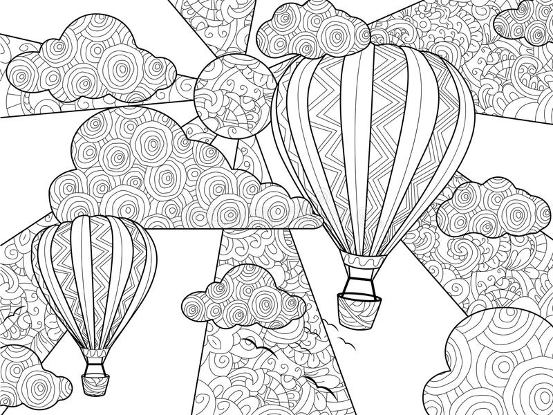 Aeronautic balloon coloring book for adults vector illustration. Anti-stress coloring for adult. Zentangle style. Black and white lines. Lace pattern vector illustration