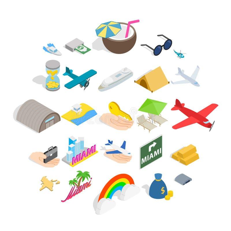 Aeronautic icons set, isometric style royalty free illustration