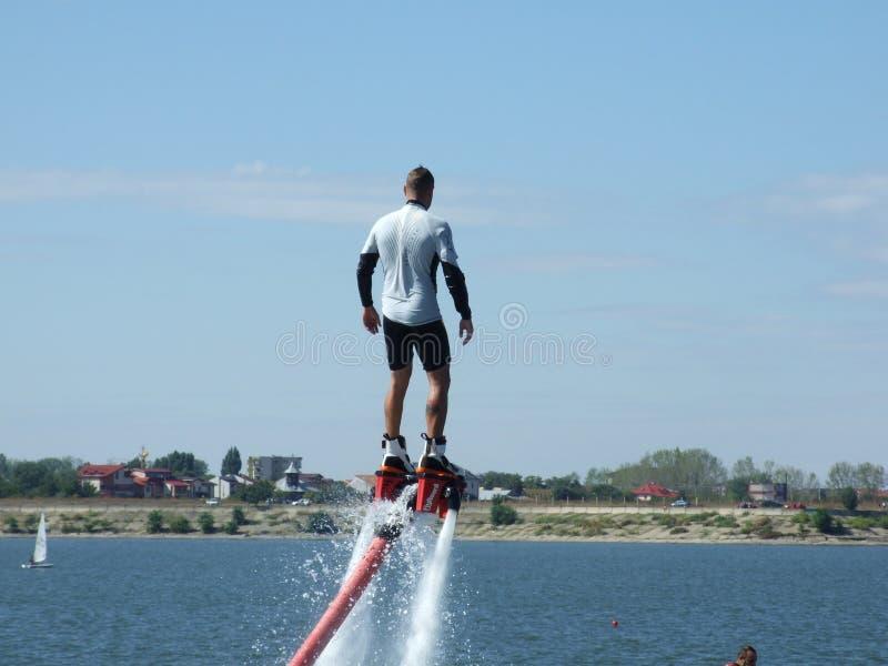 Aeronautic show 2013. Fly boarder at Aeronautic show 2013 on Morii Lake in Bucharest, Romania stock image
