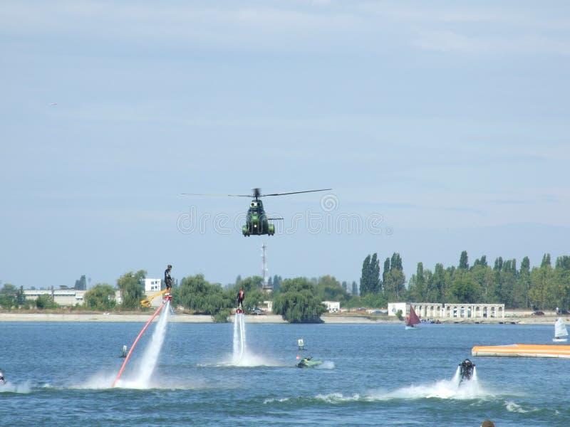 Aeronautic show 2013. Helicopter at Aeronautic show 2013 on Morii Lake in Bucharest, Romania stock images