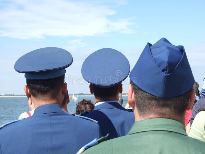 Aeronautic show 2013. Military officers at Aeronautic show 2013 on Morii Lake in Bucharest, Romania stock image