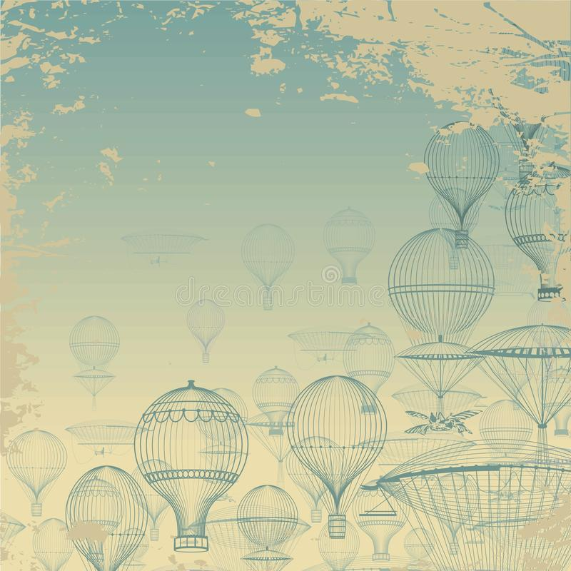 Aeronautica di VOLO Mongolfiere d'annata che galleggiano nel cielo Fondo di lerciume Monocromio in tonalità del blu royalty illustrazione gratis