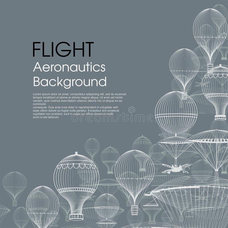 Aeronautica di VOLO Mongolfiere d'annata che galleggiano nel cielo Priorità bassa d'avanguardia Monocromio in tonalità del blu royalty illustrazione gratis