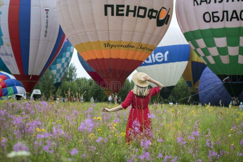 19 - Aeronautics Festival Golden Ring. Pereslavl-Zalessky, Yaroslavl Region, Russia, - July 19, 2020: 19 - Aeronautics Festival Golden Ring. Girl dressed in royalty free stock photos