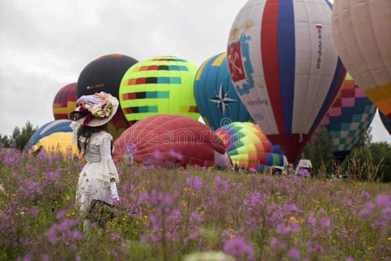 19 - Aeronautics Festival Golden Ring. Pereslavl-Zalessky, Yaroslavl Region, Russia, - July 19, 2020: 19 - Aeronautics Festival Golden Ring. Girl dressed in royalty free stock image