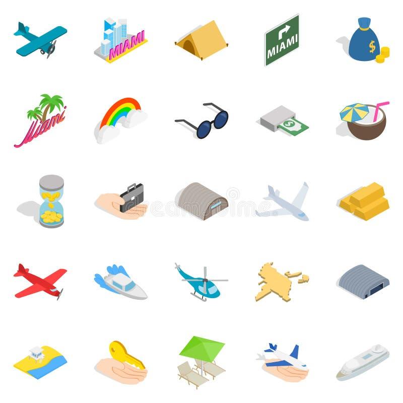 Aeronautisk symbolsuppsättning, isometrisk stil royaltyfri illustrationer