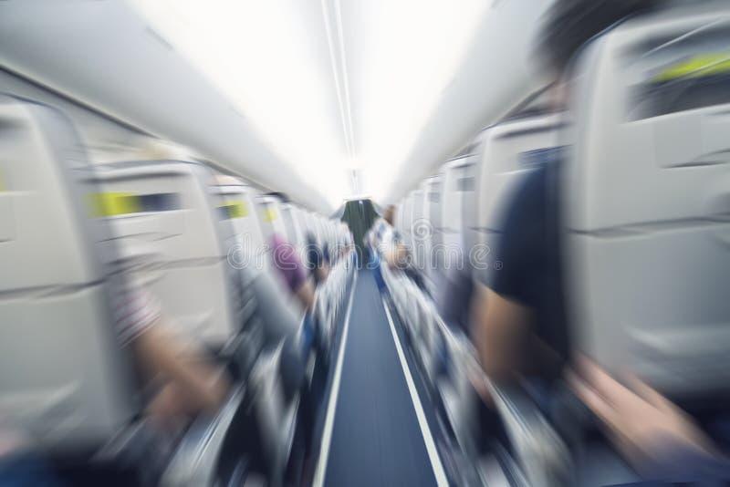 aerophobiasconcept vliegtuigschokken tijdens gat van de onstuimigheids het vliegende lucht Het commerci?le vliegtuig die van het  royalty-vrije stock foto's