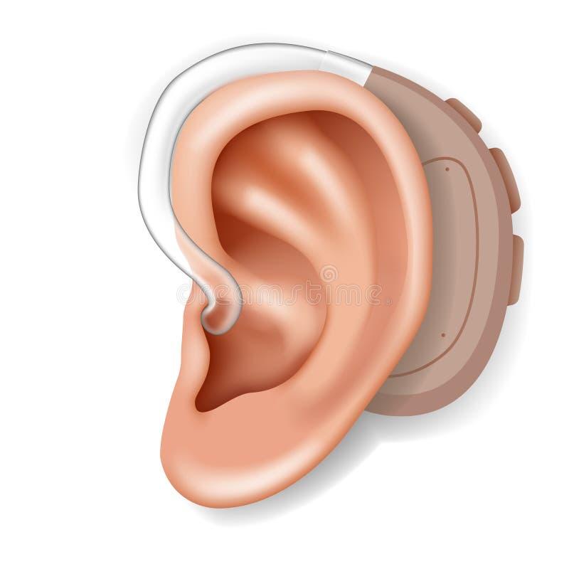 Aerophone del audífono detrás del primer humano 3d realista de la atención sanitaria del órgano del oído aislado en el vector bla libre illustration