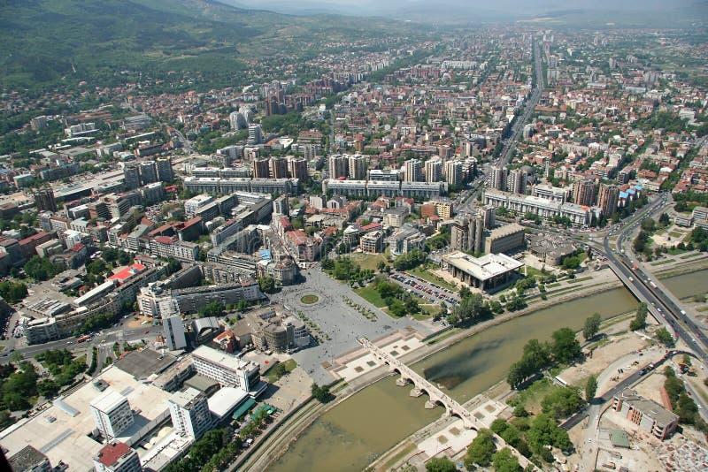 aerophoto Skopje macedoni obraz royalty free