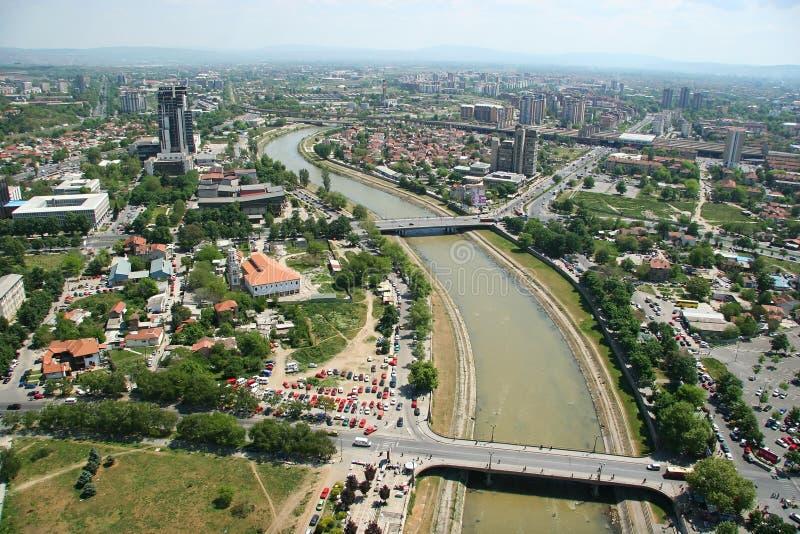 Aerophoto van Skopje Macedonië stock afbeelding