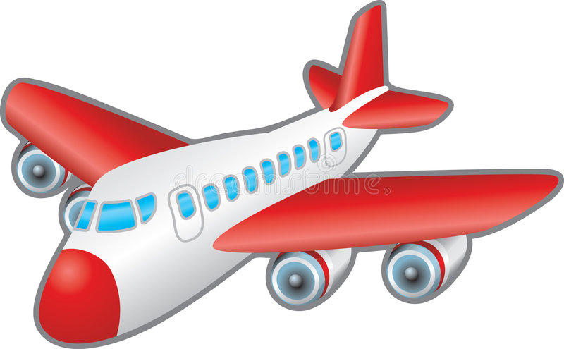 Aeroplane. Children's illustration of a jumbo jet aeroplane. No meshes used stock illustration