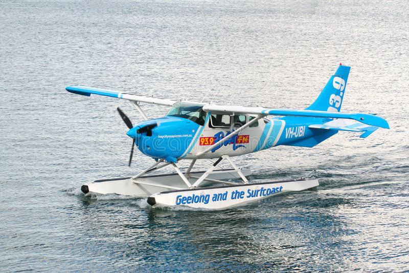 Aeroplane. Bay FM radio station aeroplane landing on Corio bay Geelong 27/04/2008 royalty free stock photo