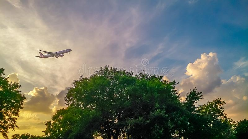 Aeroplane above Montauk Point Lighthouse Long Island New York stock photography