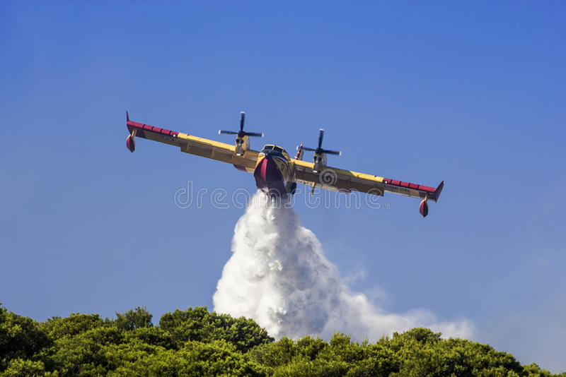 Aeroplane canadair water forest fire stock photography