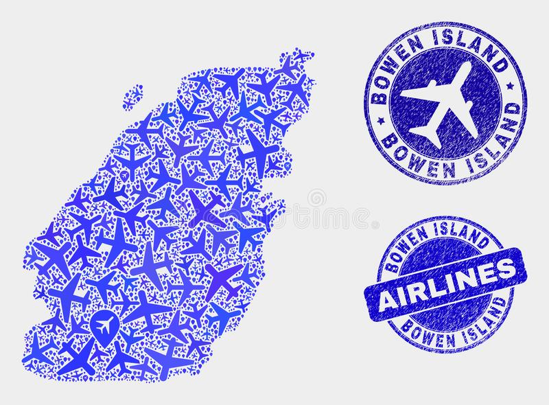 Aeroplane Collage Vector Bowen Island Map and Grunge Seals. Aviation vector Bowen Island map mosaic and scratched seals. Abstract Bowen Island map is designed vector illustration