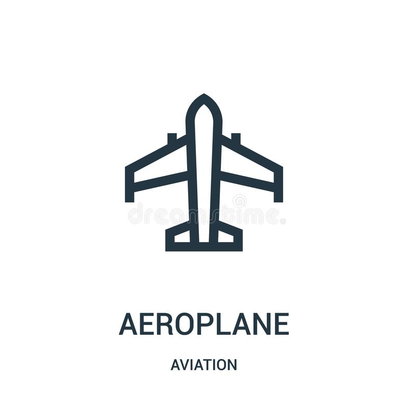 Aeroplane icon vector from aviation collection. Thin line aeroplane outline icon vector illustration. Linear symbol for use on web. And mobile apps, logo, print royalty free illustration