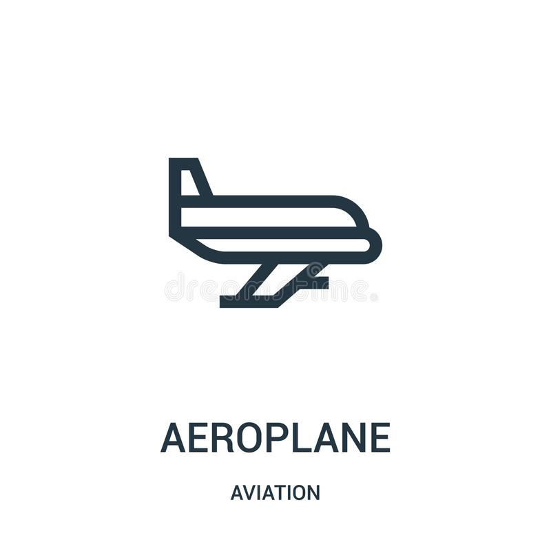 Aeroplane icon vector from aviation collection. Thin line aeroplane outline icon vector illustration. Linear symbol for use on web. And mobile apps, logo, print stock illustration