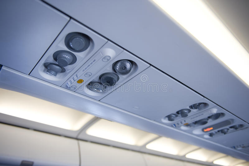 Aeroplane Overhead Console Royalty Free Stock Photos
