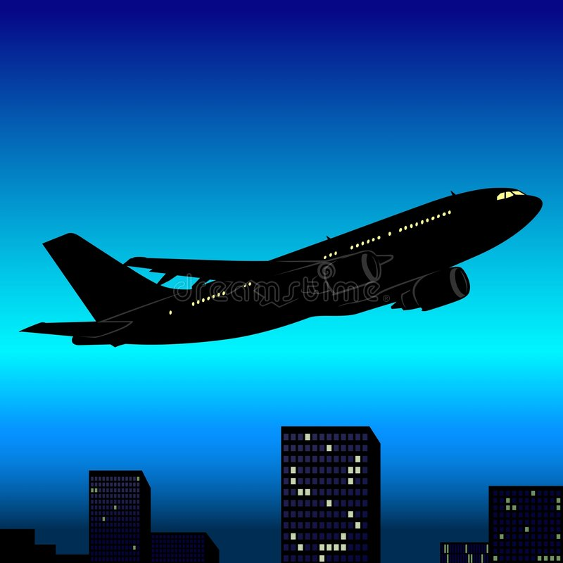 Aeroplane Silhouette 03. High detailed vector illustration royalty free illustration
