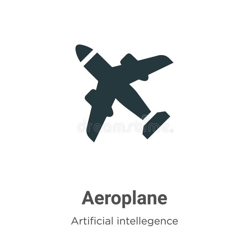 Aeroplane vector icon on white background. Flat vector aeroplane icon symbol sign from modern artificial intelligence collection. For mobile concept and web vector illustration