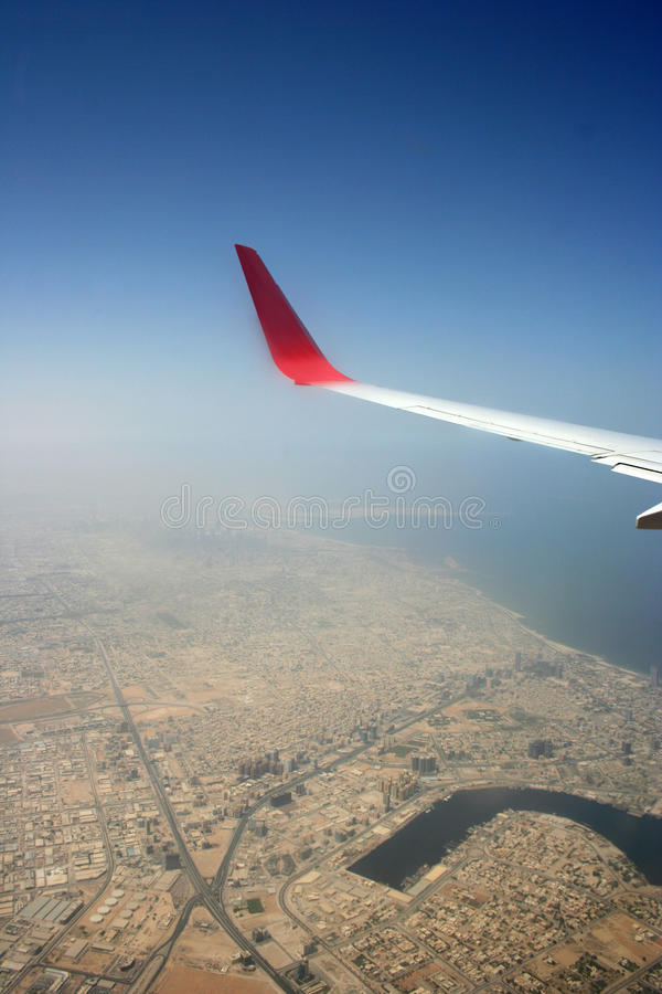 Aeroplane wing stock photo