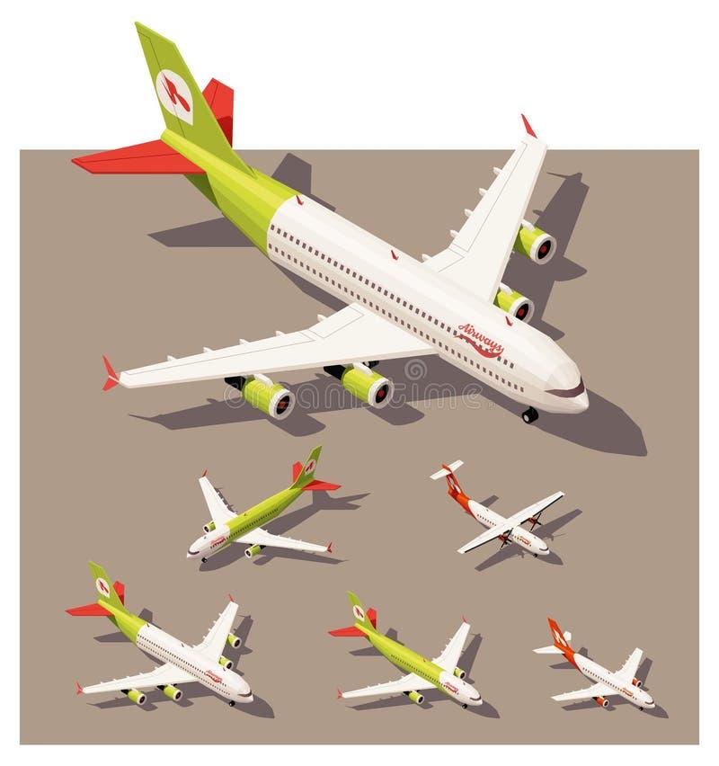 Aeroplani bassi isometrici di vettore poli messi royalty illustrazione gratis