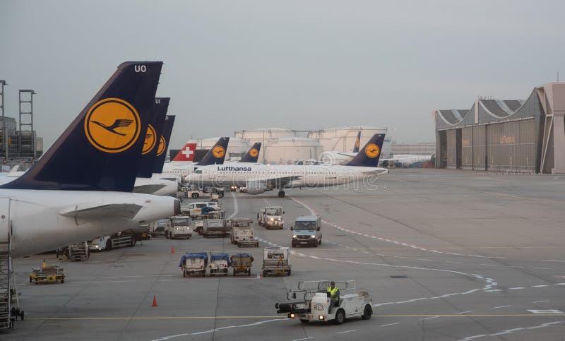 Aeroplani di Lufthansa sulla pista al terminale 1 dell'aeroporto internazionale di Francoforte in Germania fotografie stock