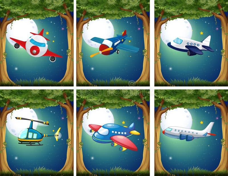 Aeroplani ed elicotteri che volano alla notte illustrazione di stock