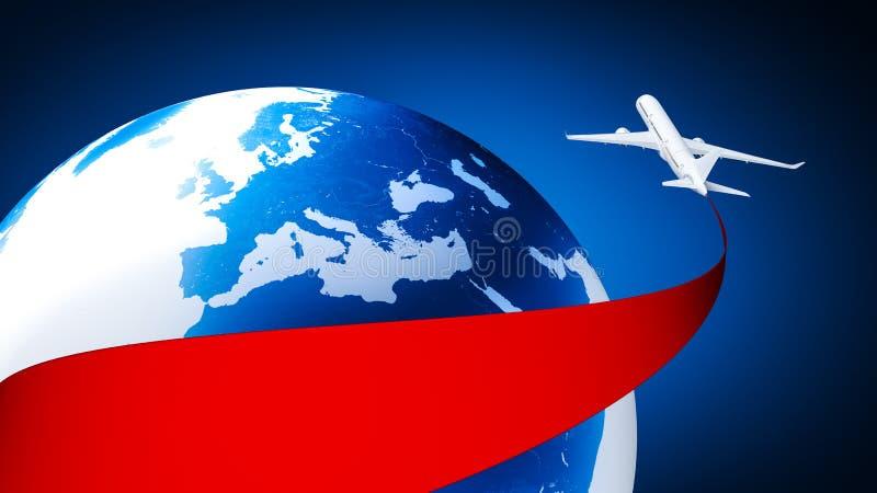 Aeroplano alrededor de la tierra ilustración del vector