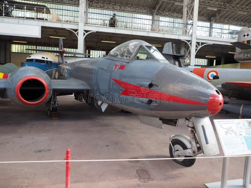 Aeroplano antico Bruxelles del combattente della meteora Mk VIII di Gloster fotografia stock libera da diritti