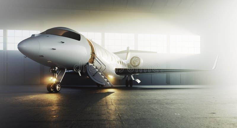 Aeroplano blanco del jet privado del negocio parqueado en el hangar de los aviones Concepto de lujo del turismo y del transporte  ilustración del vector