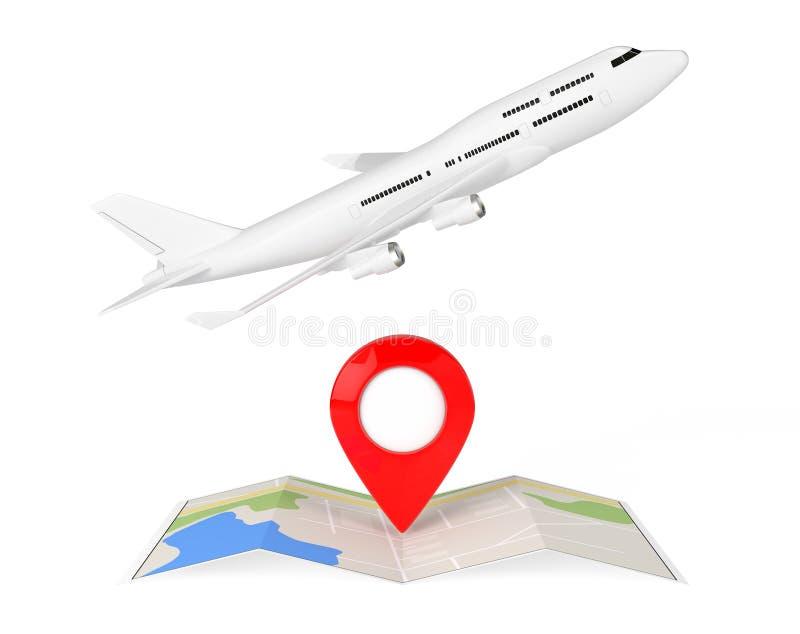 Aeroplano blanco del ` s de Jet Passenger sobre la navegación abstracta doblada M stock de ilustración