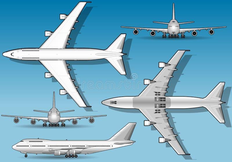 Aeroplano blanco en la posición ortogonal cinco ilustración del vector