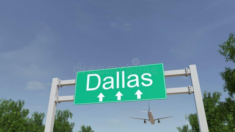 Aeroplano che arriva all'aeroporto di Dallas Viaggiando alla rappresentazione concettuale 3D degli Stati Uniti fotografia stock