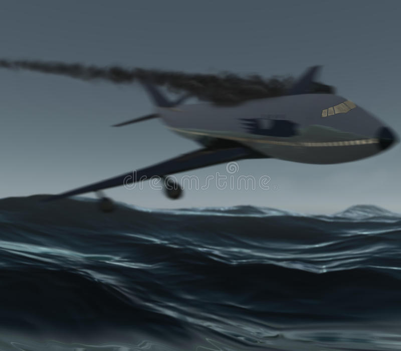 Aeroplano che si arresta nell'oceano fotografia stock libera da diritti