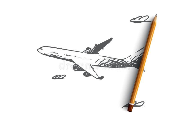 Aeroplano, cielo, vuelo, transporte, concepto del viaje Vector aislado dibujado mano libre illustration